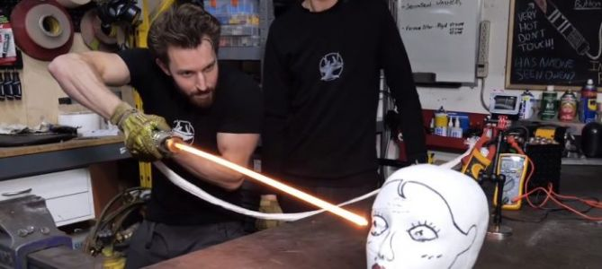 "VOTD: The Hacksmith Created a ""Real"" Lightsaber, and It's Probably Not for a Civilized Age"