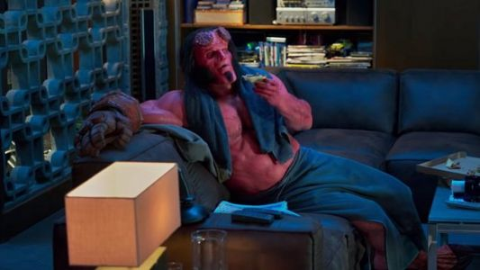 New HELLBOY Clip Features Hellboy Kickin' Back And Eatin' Some Pizza