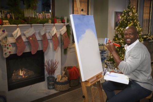 Watch Terry Crews Channel His Inner Bob Ross During Christmas Painting Session