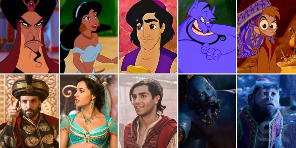 Aladdin 2019 Cast Compared To The Original Animation