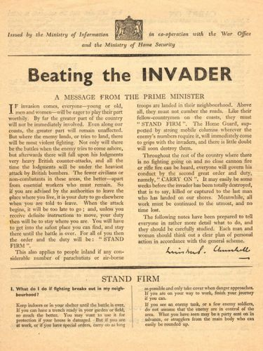 Winston Churchill's List of Tips for Surviving a German Invasion: See the Never-Distributed Document (1940)
