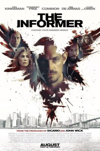 The Informer Movie starring Joel Kinnaman, Rosamund Pike, Ana de Armas, Clive Owen, and Common
