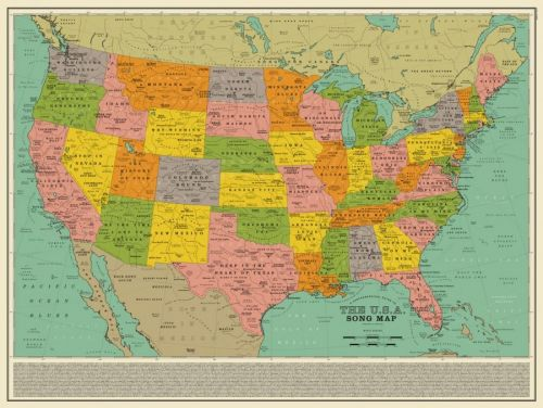 A Map of the U.S. Created Out of 1,000 Song Titles That Reference Cities, States, Landmarks & More
