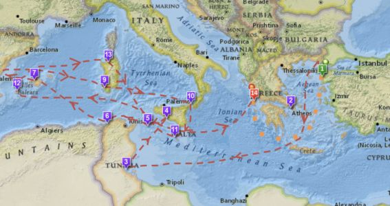 An Interactive Map of Odysseus' 10-Year Journey in Homer's Odyssey