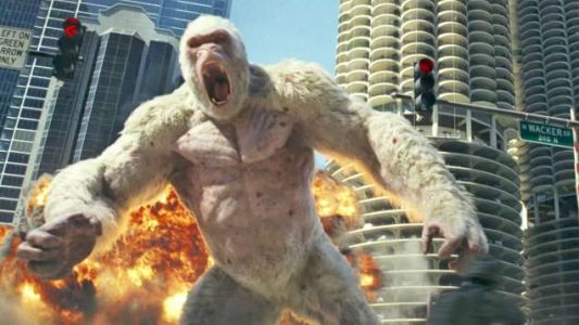 Watch The Rock Fight A Giant Albino Ape In The Latest RAMPAGE Trailer
