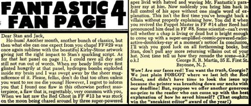 "August 11, 1964: In the letters section of ""Fantastic Four"""