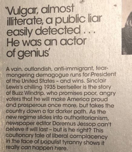 Penguin Classic's Back Cover Blurb for Sinclair Lewis' 1935 Novel It Can't Happen Here